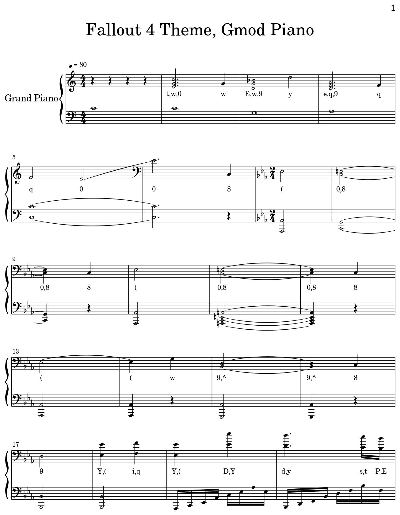 Fallout 4 Theme, Gmod Piano - Flat
