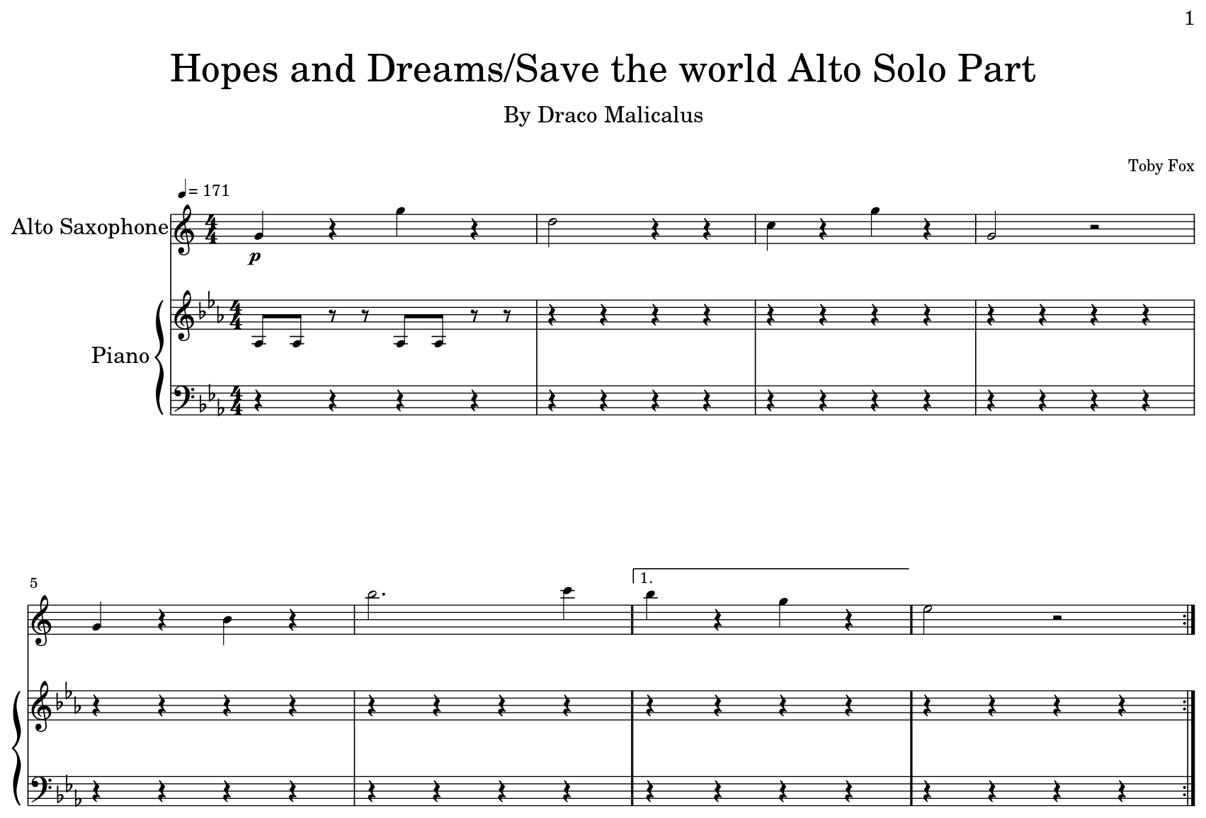Hopes and Dreams/Save the world Alto Solo Part - Flat