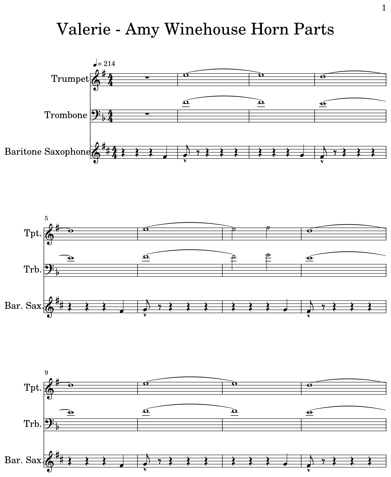Valerie Amy Winehouse Horn Parts Sheet Music For Trumpet