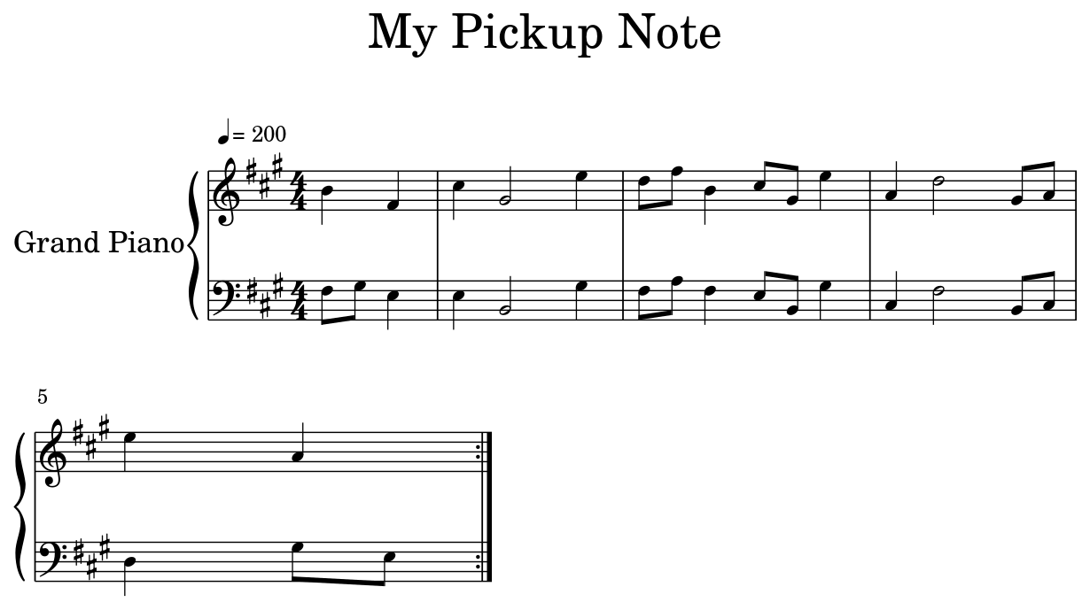 My Pickup Note Sheet Music For Piano Diagram With Notes
