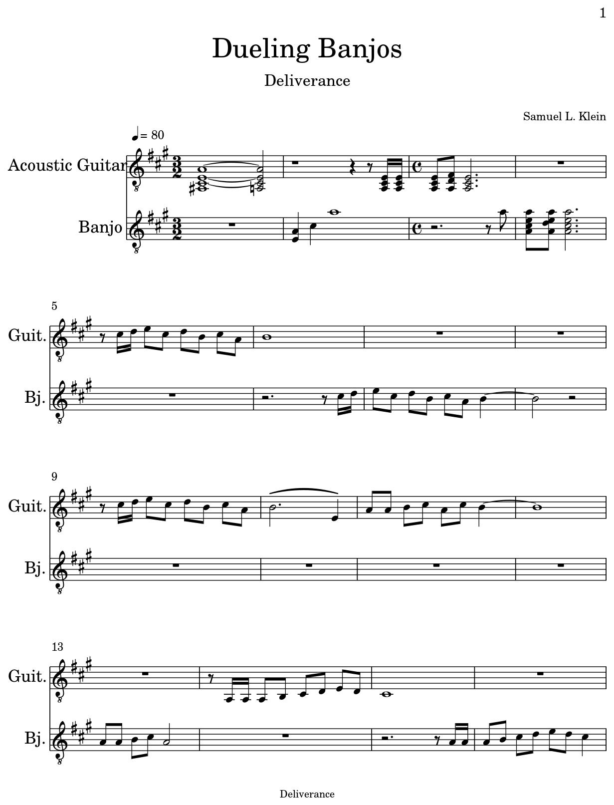 Dueling Banjos Sheet Music For Acoustic Guitar Banjo