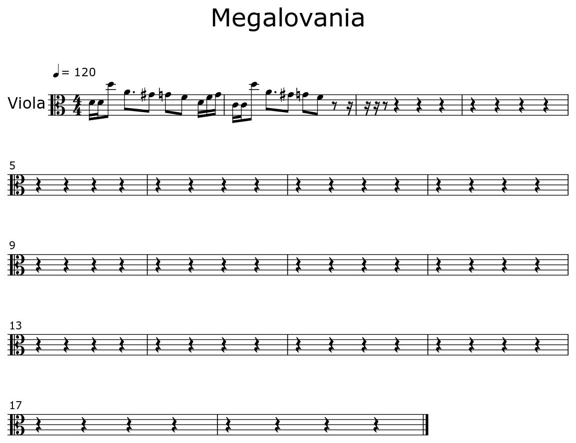 Megalovania - Sheet music for Viola