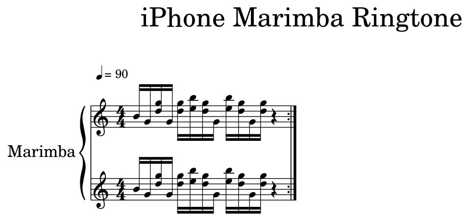 iphone xylophone ringtone sheet music