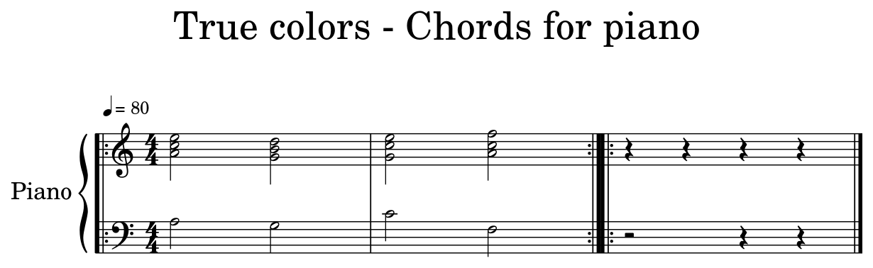 True Colors Chords For Piano Sheet Music For Piano