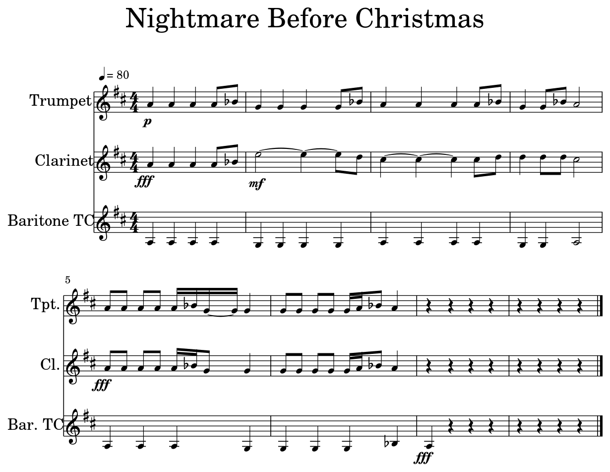 Nightmare Before Christmas - Sheet music for Trumpet, Clarinet ...