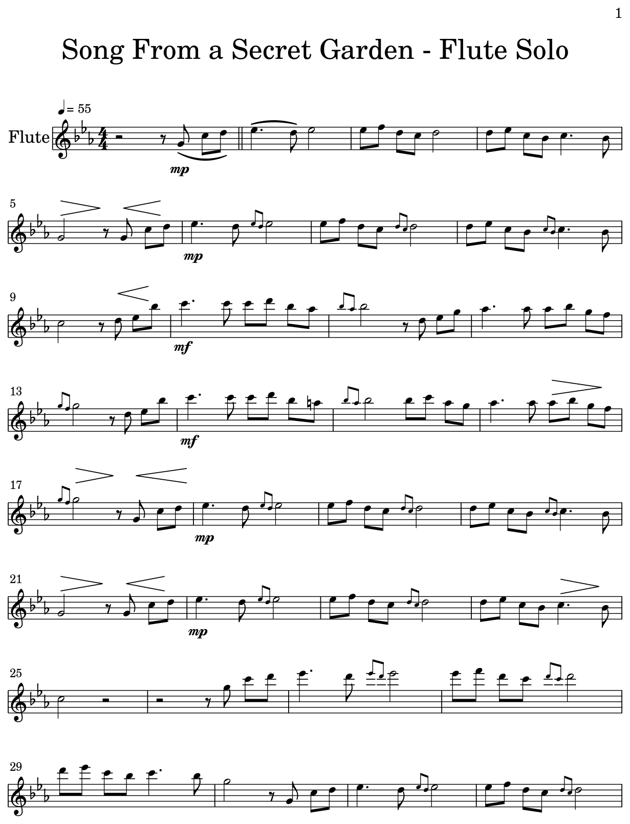 photo about Free Printable Flute Sheet Music identify Music Against a Solution Backyard garden - Flute Solo - Flat
