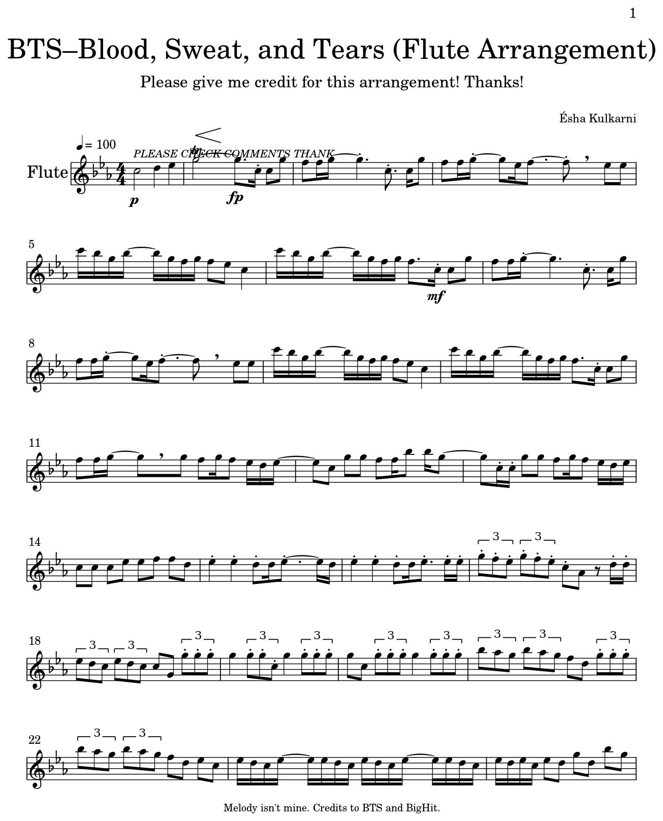 Grenade Flute Sheet Music With Lyrics: BTS–Blood, Sweat, And Tears (Flute Arrangement)