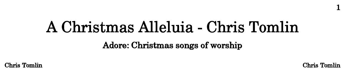 A Christmas Alleluia - Chris Tomlin - Sheet music for Piano, Violoncello