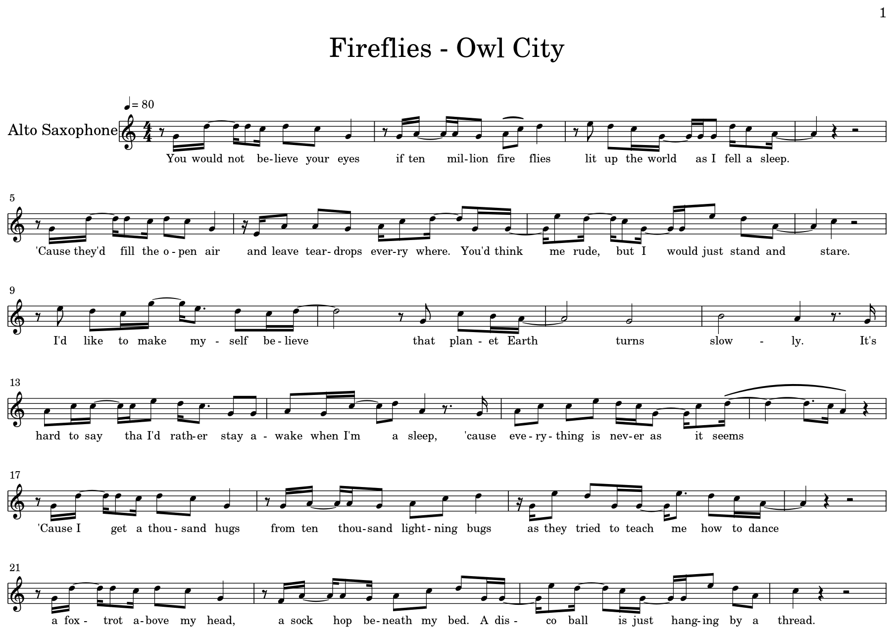 Fireflies - Owl City - Flat