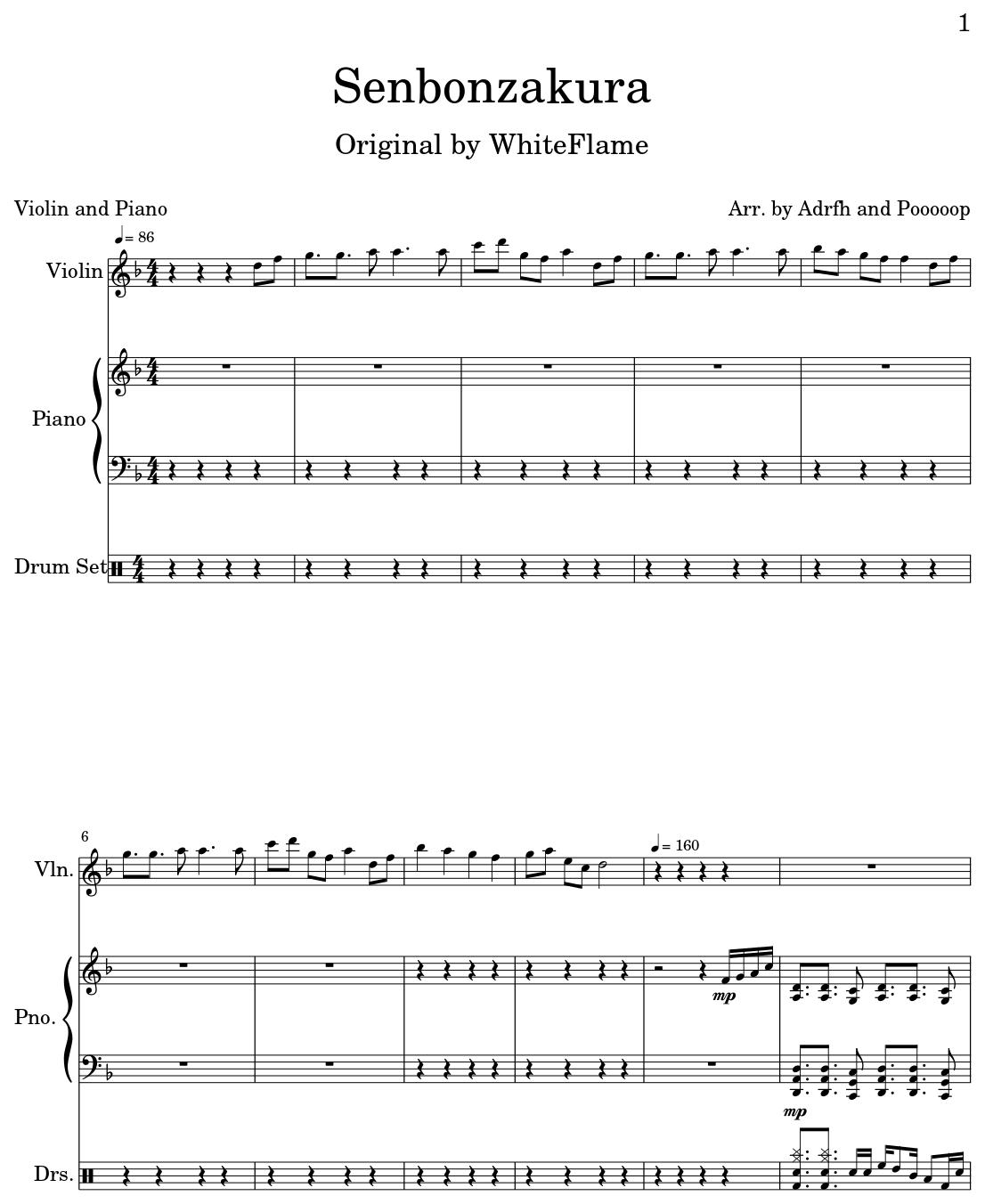 Senbonzakura - Sheet m...V Is For Violin
