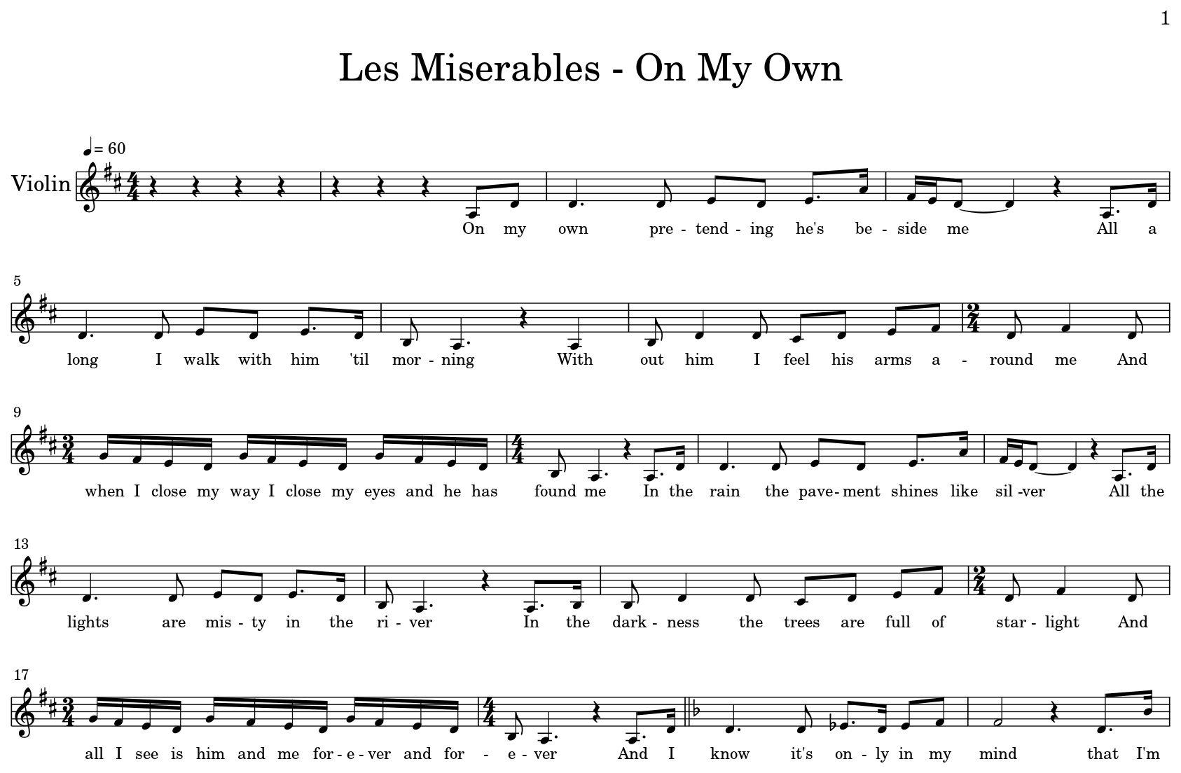 Les Miserables - On My Own - Flat