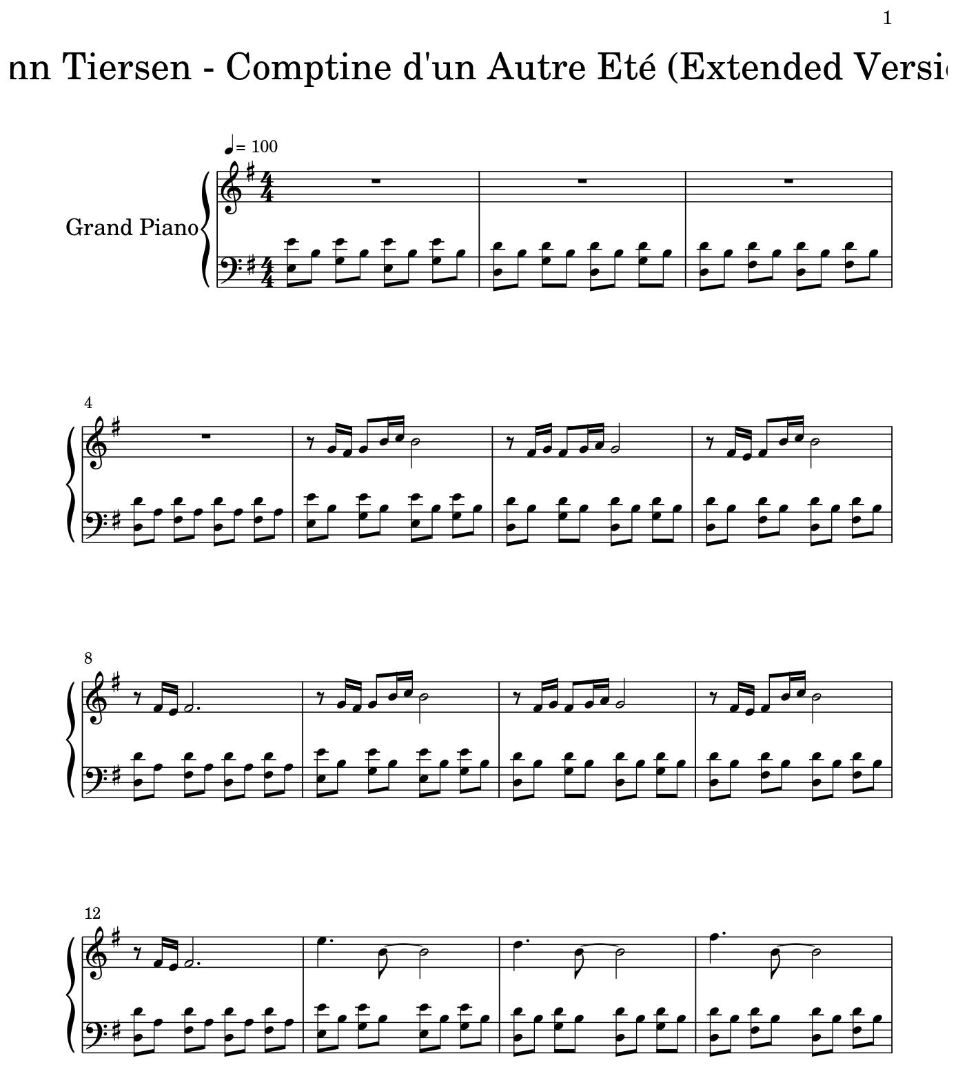 Yann Tiersen Comptine Dun Autre Eté Extended Version Flat
