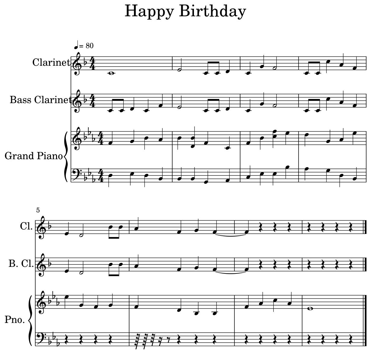 Sheet Music For Clarinet, Bass Clarinet