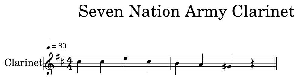 Seven Nation Army Clarinet - Flat