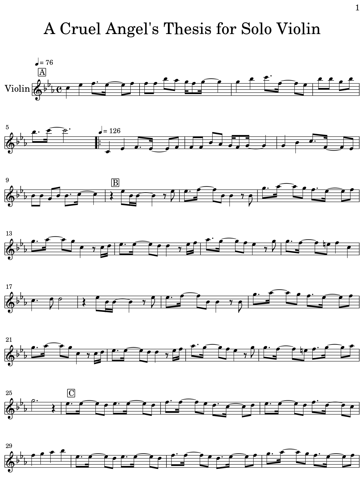 cruel angels thesis sheet music violin
