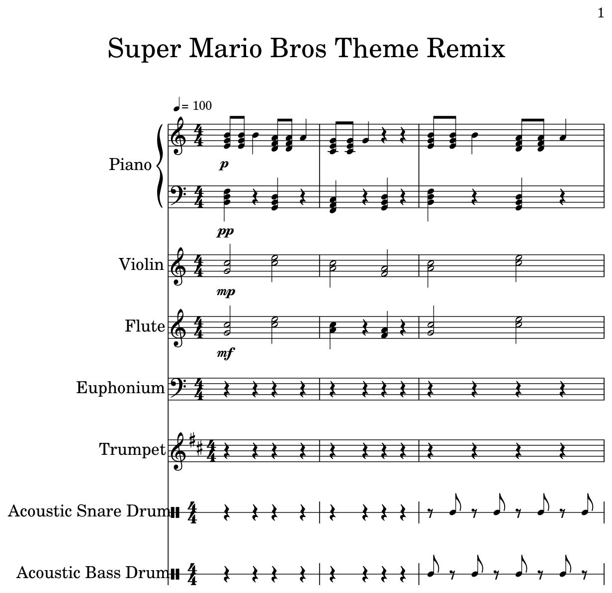 Super Mario Bros Theme Remix - Flat