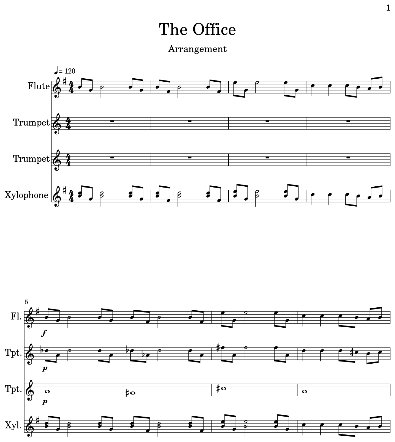 the office sheet music for flute trumpet xylophone