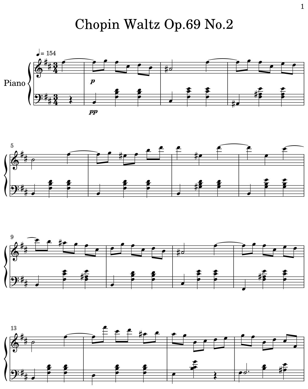 Chopin Waltz Op 69 No 2 - Flat