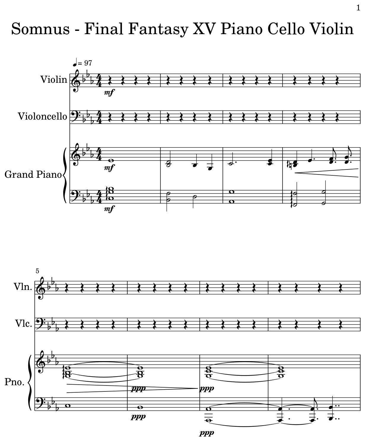 Somnus - Final Fantasy XV Piano Cello Violin - Flat