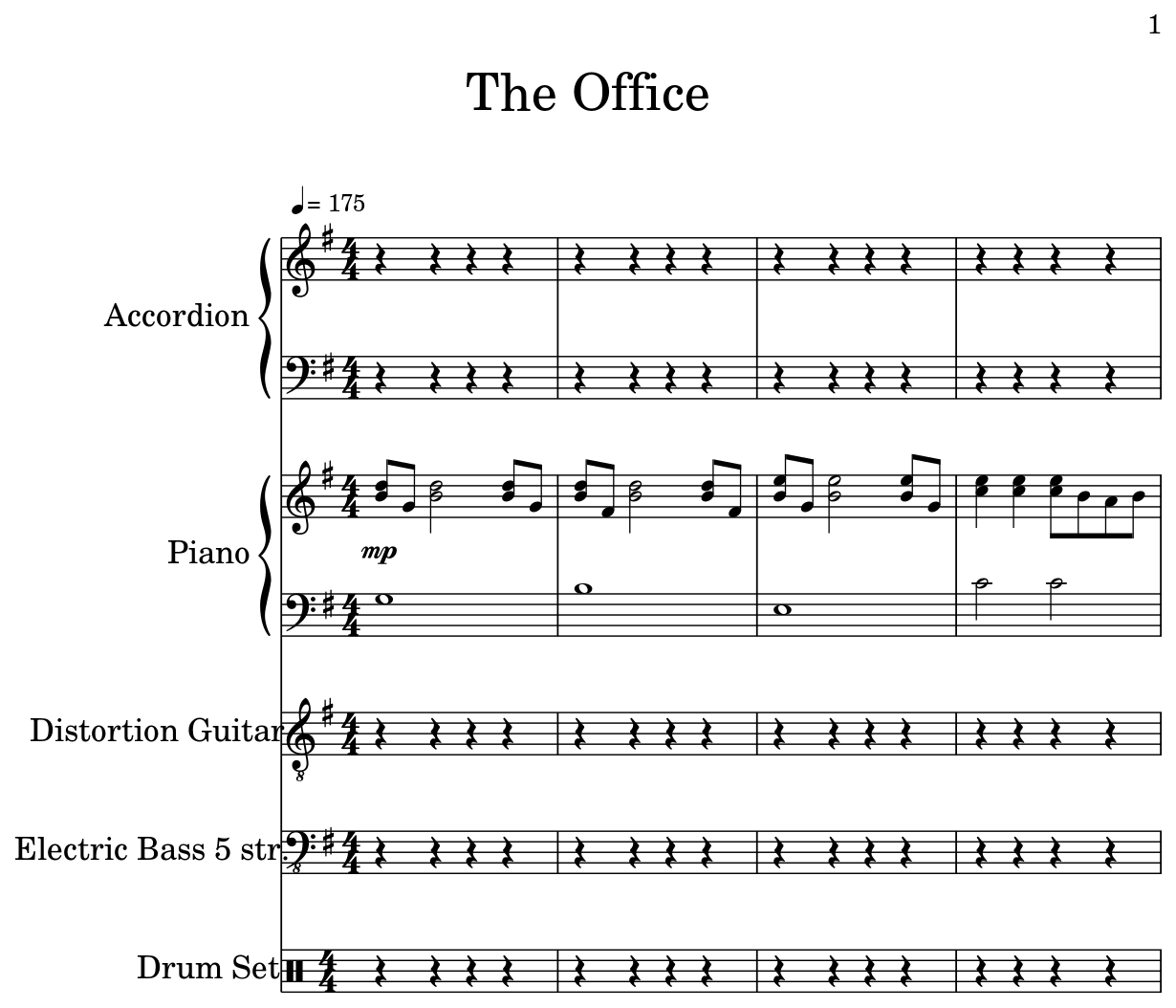 the office sheet music for accordion piano distortion guitar