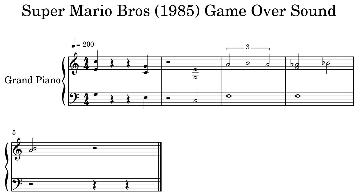 Super Mario Bros (1985) Game Over Sound - Flat