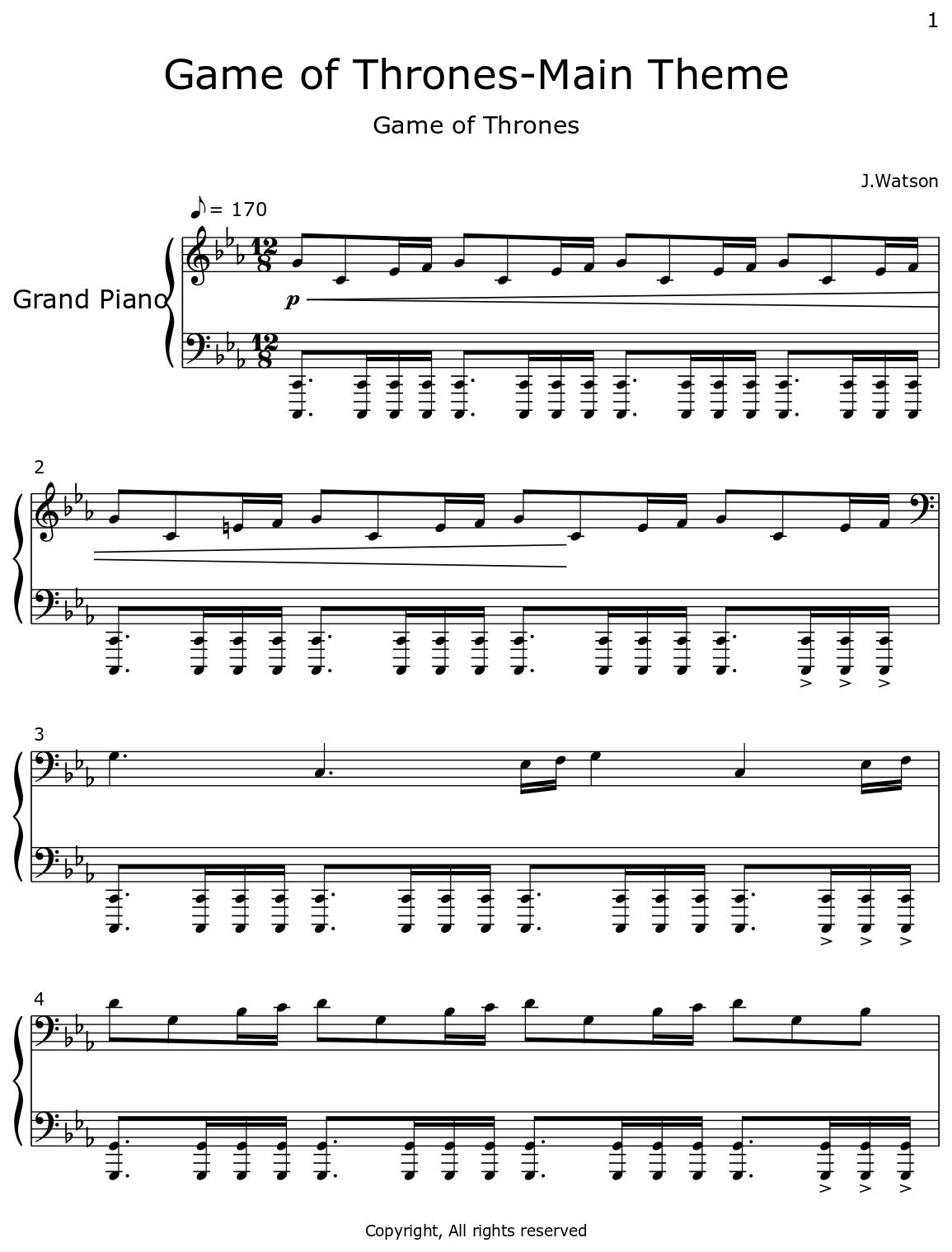 Game Of Thrones Titelmusik Klaviernoten game of thrones-main theme - flat