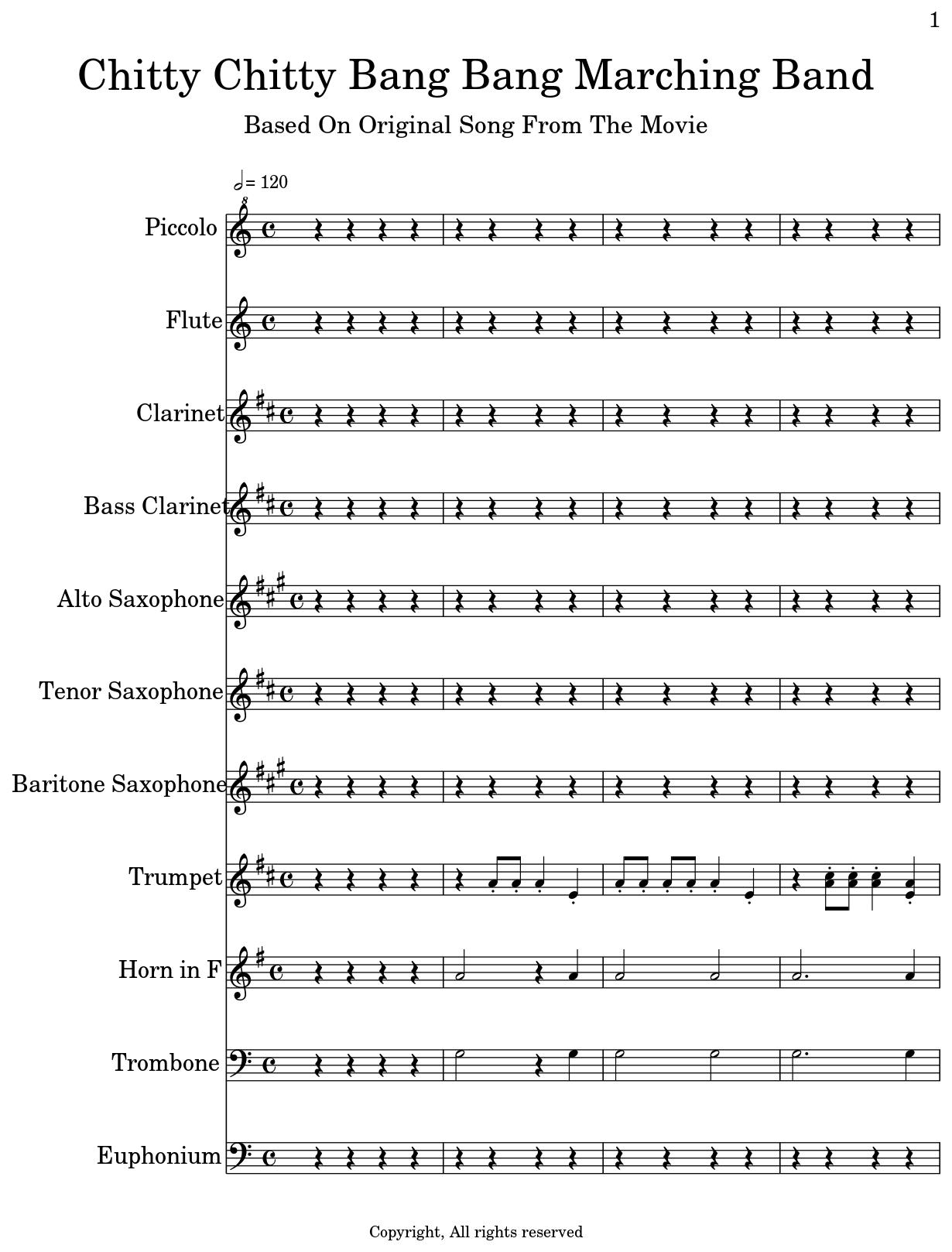 Chitty Chitty Bang Bang Marching Band - Flat