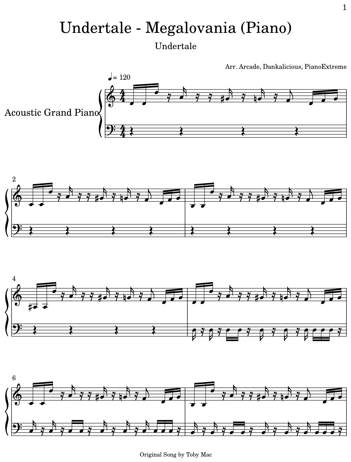 Undertale - Megalovania (Piano) - Flat