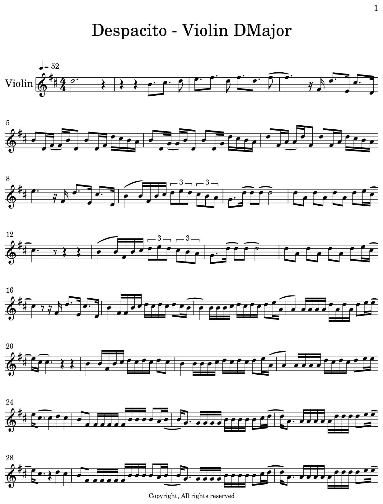 Despacito - Violin DMajor - Sheet music for Violin