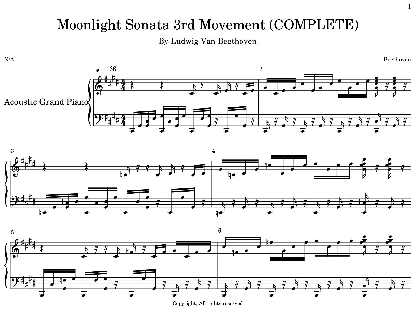 Moonlight Sonata 3rd Movement (COMPLETE) - Flat