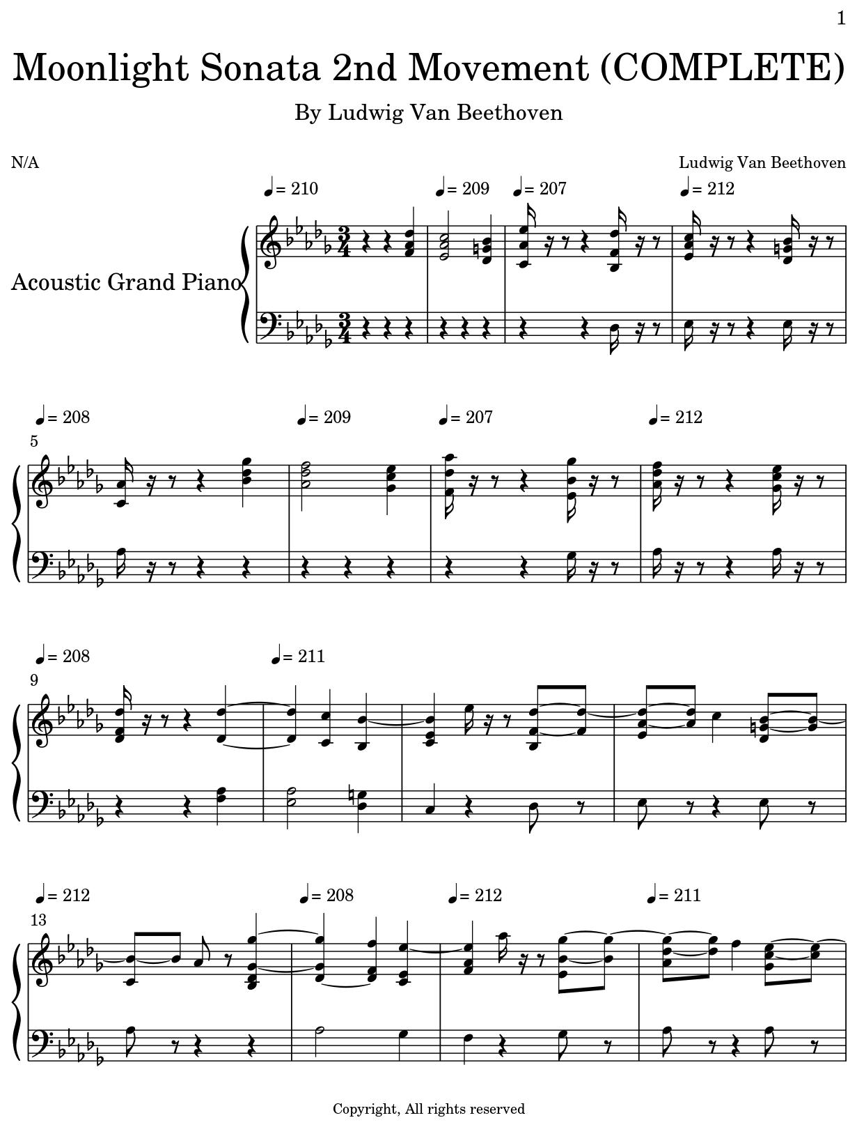 Moonlight Sonata 2nd Movement (COMPLETE) - Flat