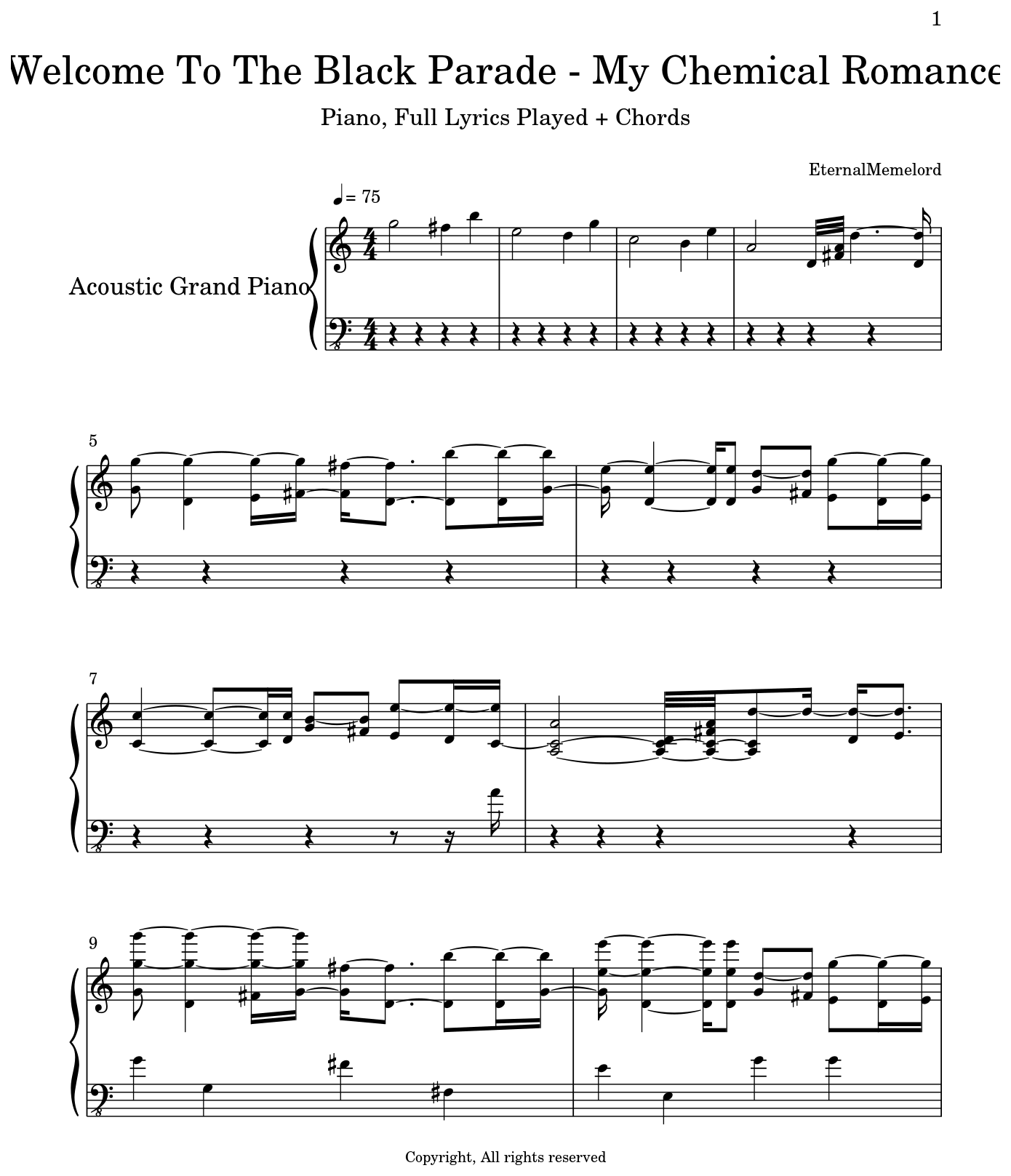 Welcome To The Black Parade My Chemical Romance Sheet Music For