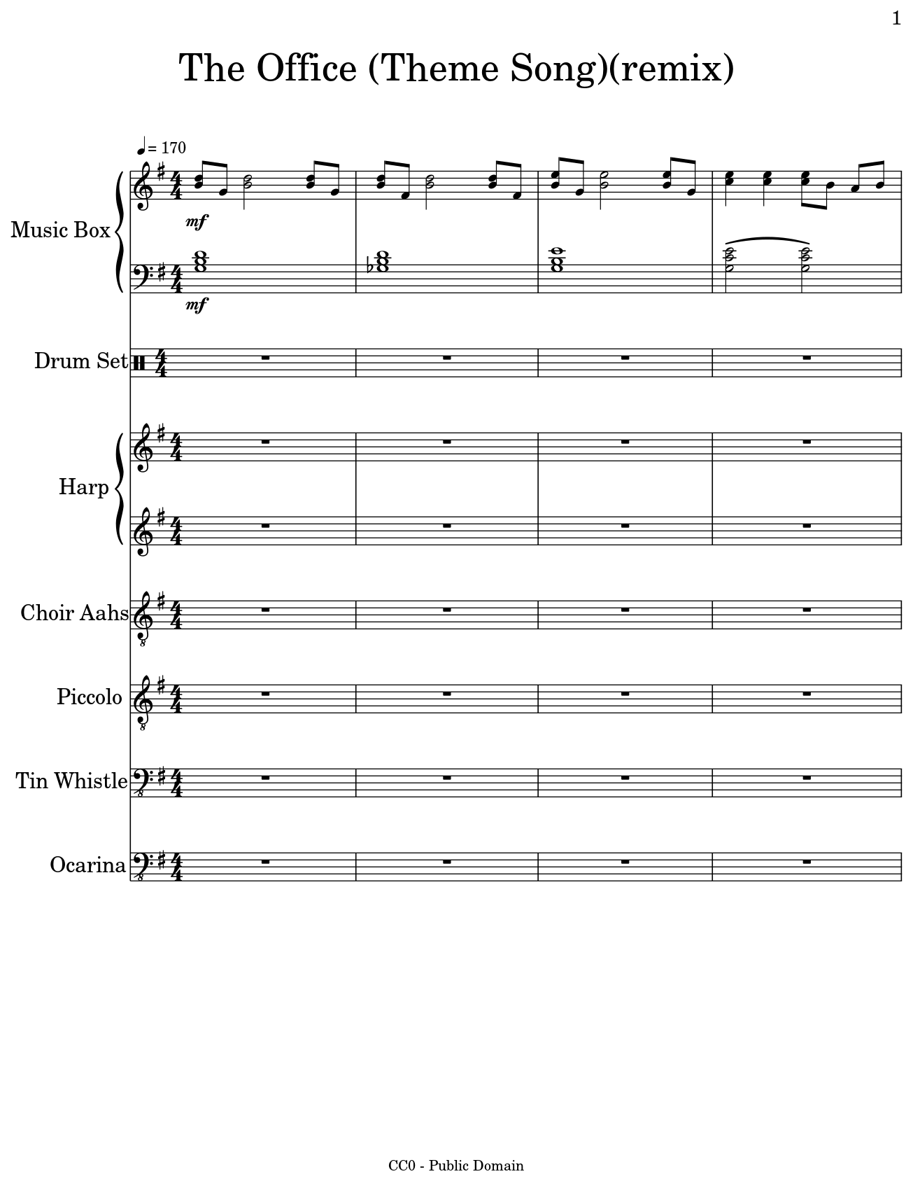 the office theme song remix sheet music for music box drum set