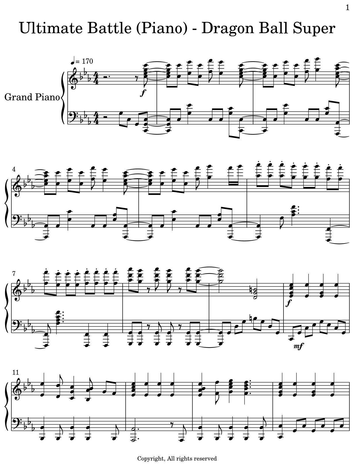 Ultimate Battle (Piano) - Dragon Ball Super - Sheet music