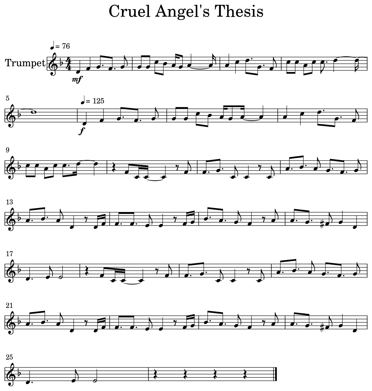 cruel angels thesis trumpet sheet music