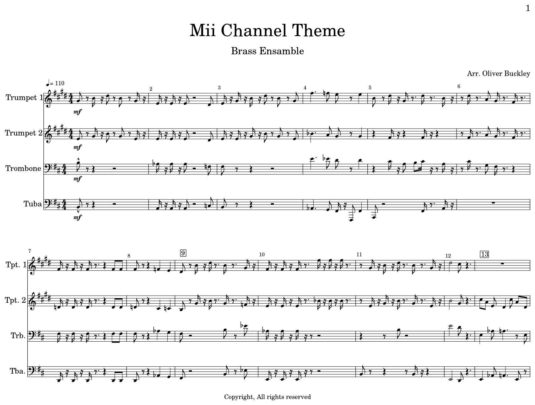 Mii Channel Theme - Sheet music for Trumpet, Trombone, Tuba