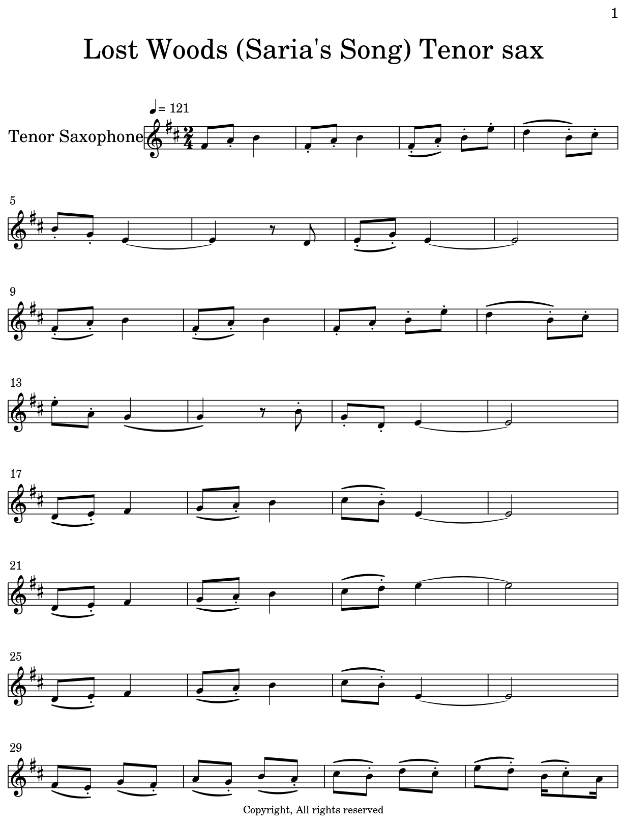 Lost Woods (Saria's Song) Tenor sax - Flat