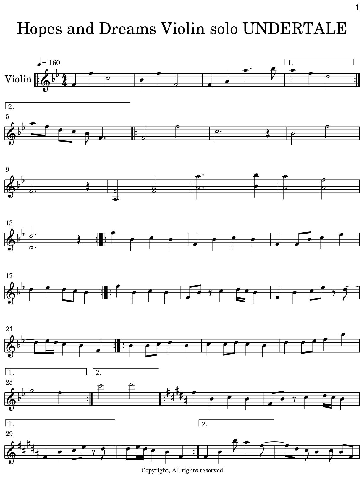Hopes and Dreams Violin solo UNDERTALE - Flat