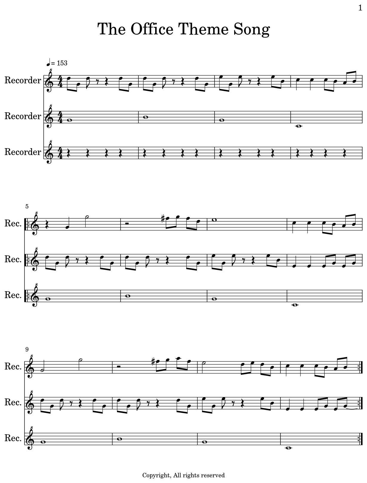 the office theme song sheet music for recorder