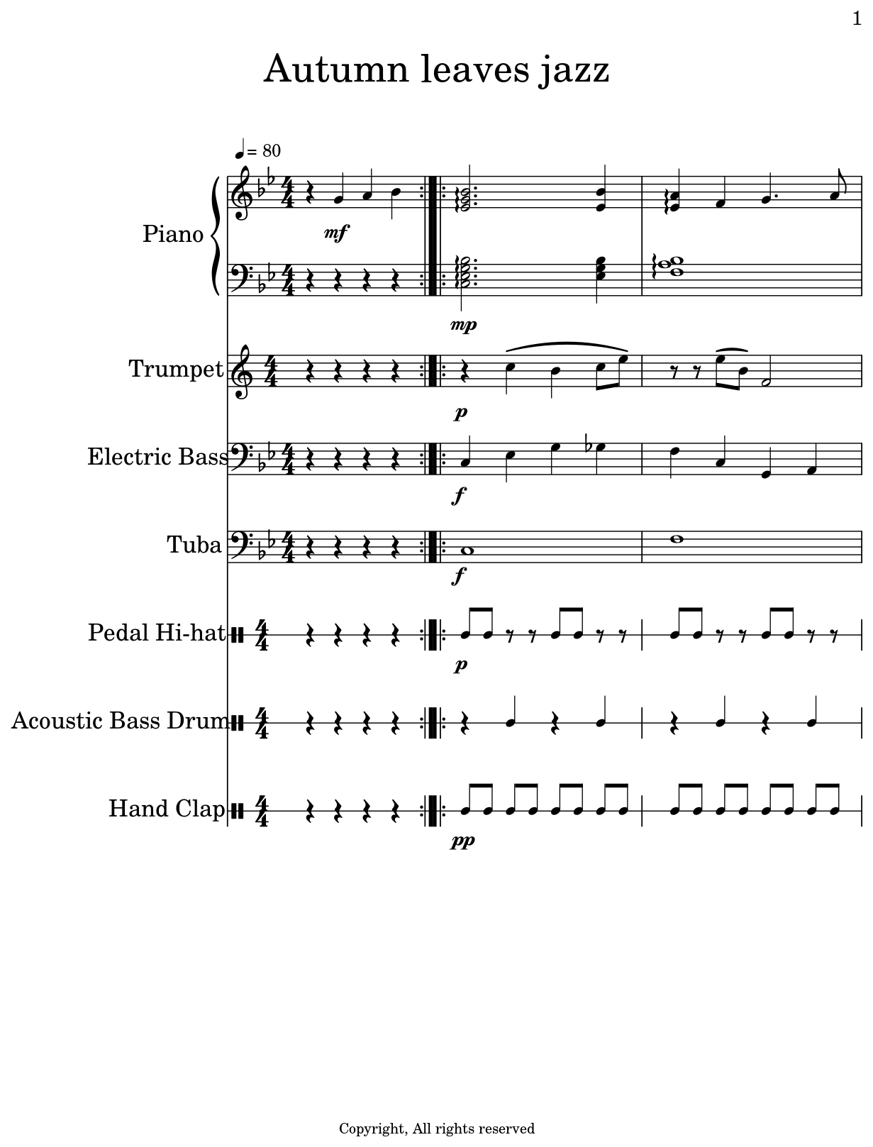 autumn leaves jazz sheet music for piano electric guitar jazz trumpet electric bass tuba. Black Bedroom Furniture Sets. Home Design Ideas