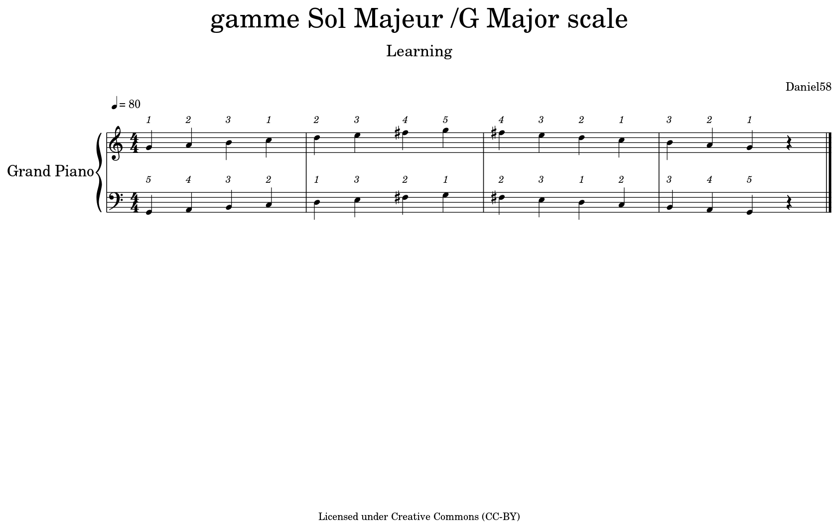 gamme Sol Majeur /G Major scale - Flat