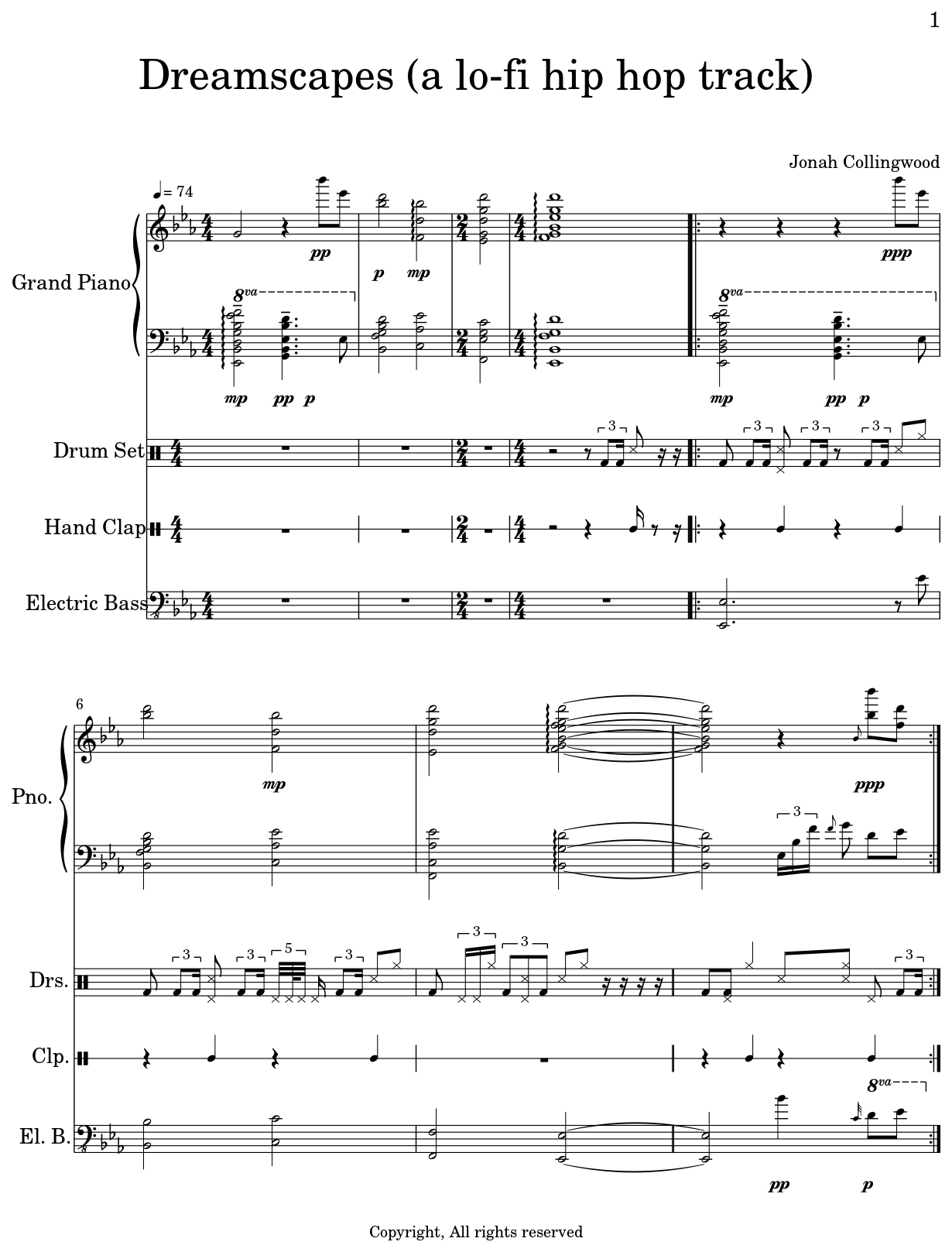 dreamscapes a lo fi hip hop track sheet music for piano drum set hand clap electric bass. Black Bedroom Furniture Sets. Home Design Ideas