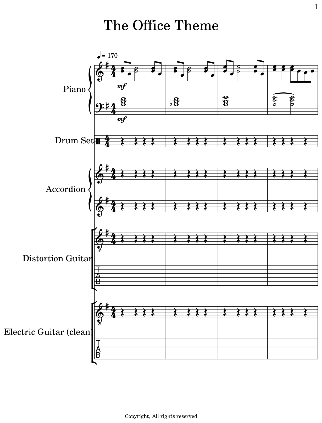 the office theme sheet music for piano drum set accordion distortion guitar electric. Black Bedroom Furniture Sets. Home Design Ideas
