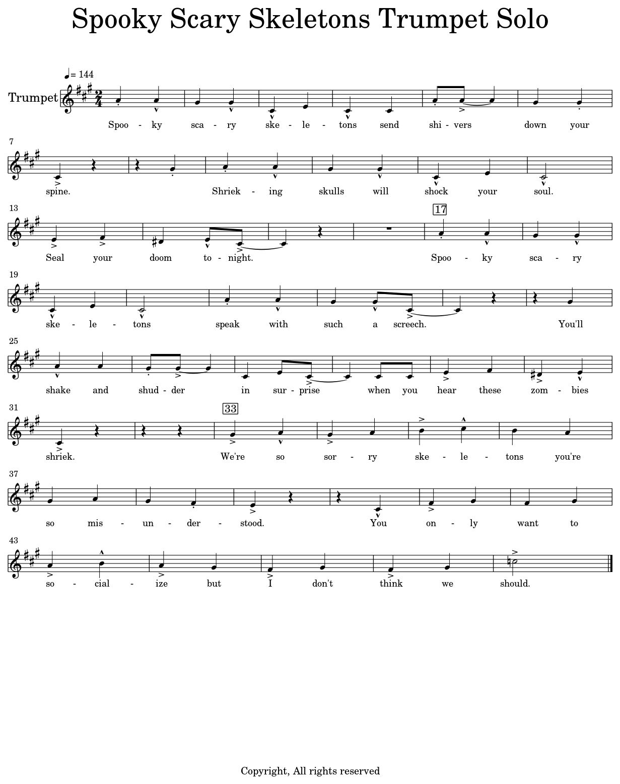 Spooky Scary Skeletons Trumpet Solo - Sheet music for Trumpet