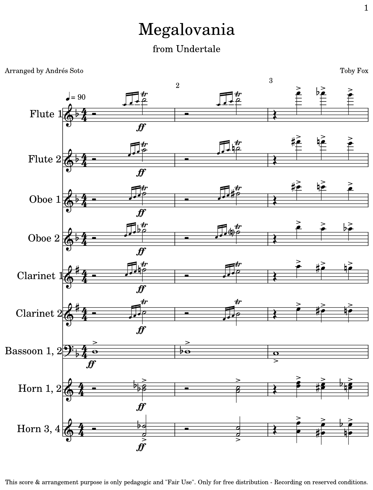 Megalovania Sheet Music For Flute Oboe Clarinet Bassoon Horn