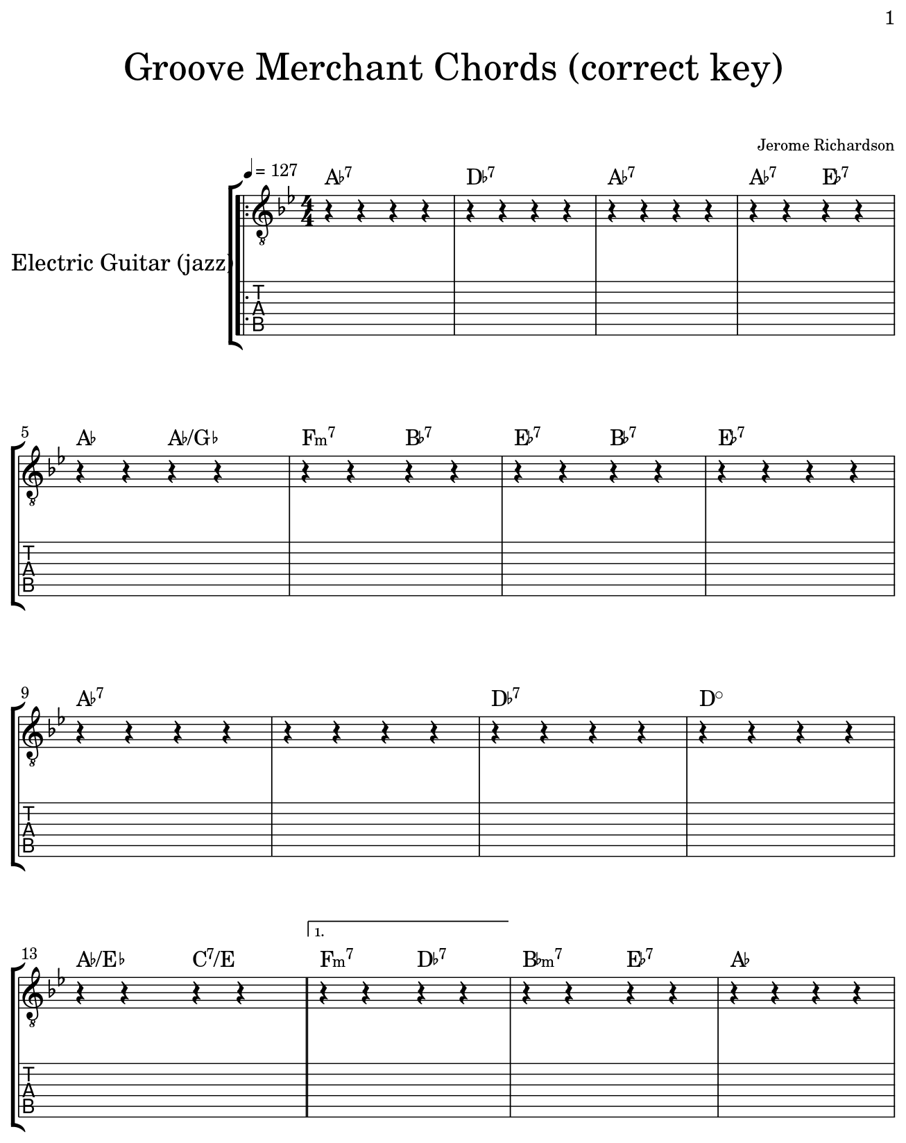 groove merchant chords correct key sheet music for electric guitar jazz. Black Bedroom Furniture Sets. Home Design Ideas